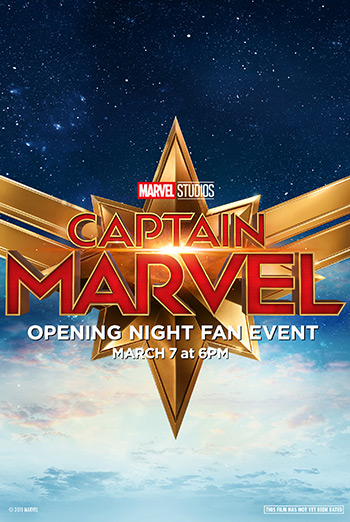 Opening Night Fan Event, Captain Marvel movie poster