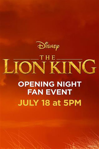 Opening Night Fan Event: The Lion King movie poster